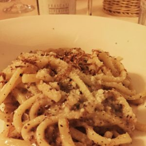 Cacio e pepe with truffles at Taverna dei Fori Imperiali