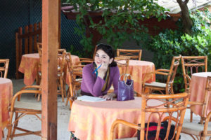Writing in the cafe of the Ambasciatori.