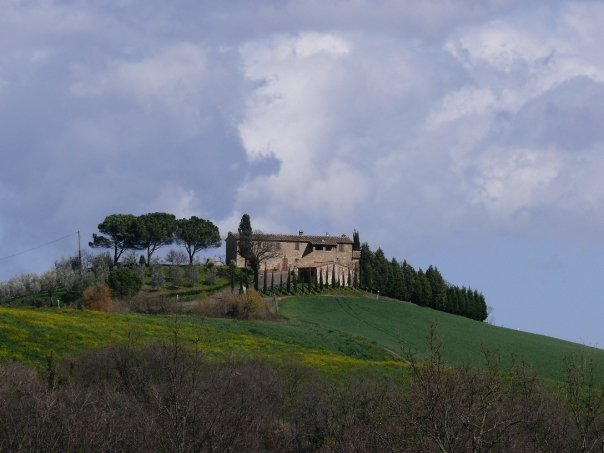 Villa outside of Montalcino. Possibly Caparzo, but I don't remember because wine.