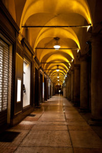 Porticos provide cover from the rain.